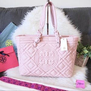 Tory Burch Fleming Mineral Pink Quilted Nylon Tote